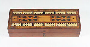 Antique Victorian Inlaid Marquetry CRIBBAGE BOX Board Walnut Playing Card Games