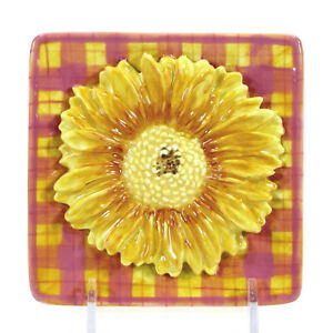 "MWW Market SWEET DAISIES - PLAID 4.5"" Mini Plate Square Floral Flower Tim Coffey"