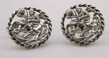"""Dekorative ausgefallene alte Manschettenknöpfe Silber Tracht  """"Heiliger Georg"""""""