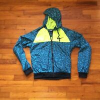 Vtg Retro Nike Windbreaker Jacket Full Zip Turquoise Lime Green Size Medium