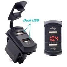 12V Dual Port USB Charger Socket Car Boat Voltmeter Rocker Switch Panel Red LED