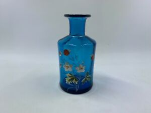 Brilliant Skylark blue antique Victorian enameled glass perfume / small decanter
