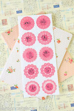 Cherry Pink Lace Stickers pretty deco round scrapbook diary craft sticker seals