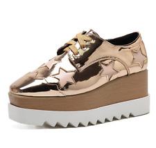 Señoras Cuadrado Toe Oxford Alto Cuña Plataforma Con Cordones Creepers Cuero Zapatos Talla