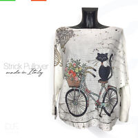 Strick Pullover Made in Italy 'Black cat' Print  Muster Langarm Pulli Gr: 38-46