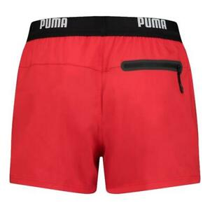 Puma NEW Men's Logo Short Length Swim Shorts - Red BNWT