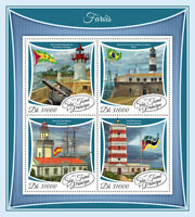 Sao Tome & Principe Ligthouses Stamps 2017 MNH Architecture Flags 4v M/S