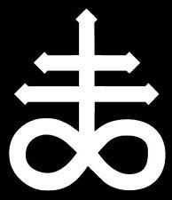 Leviathan Cross Vinyl Decal Sticker Bumper Window Wall Satanic Lucifer White