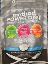 Method, 20 Count, Free & Clear Power Dishwasher Detergent Packs