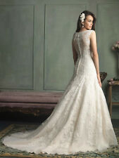 New Lace Wedding Dress Accent a Sheer Illusion Back and Sweep Train Gown B079
