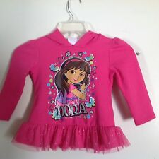 Dora the Exployer Hooded Sweatshirt with shiny tulle ruffle Hot Pink size 4T Nic