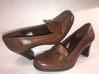 CONNIE SZ 6 1/2 M BROWN LEATHER SLIP ON WOMEN LOAFER PUMPS SHOES WS11-5