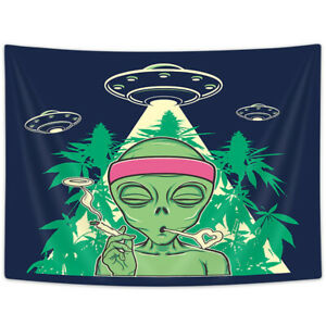 UFO and Alien Smoking Weed Tapestry for Bedroom Living Room Dorm Decor