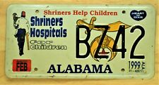 "1999 ""SHRINERS HOSPITALS FOR CHILDREN"" ALABAMA LICENSE PLATE VEHICLE TAG 976"