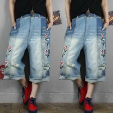 Hot Womens Casual Loose Baggy Denim Pants Embriodery Trousers Ripped Hole Jeans