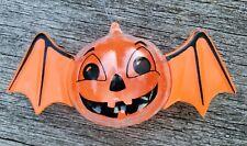 Vtg RARE HALLOWEEN PLASTIC SUNHILL BAT JOL CANDY holder Jack O Lantern ornament