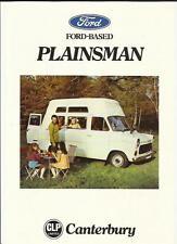 FORD BASED PLAINSMAN CANTERBURY MOTORHOME SALES 'BROCHURE'/SHEET + SPECS. 1976