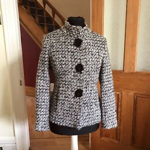 M&S Per Una Wool Blend Lined Warm Mohair Style Jacket Greys Size 10 Big Buttons