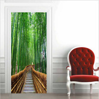 3D Wall Art Bamboo Forest Stairs Door Sticker PVC Decal Self-adhesive Wrap Mural