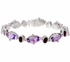 Judith Ripka Sterling Silver Multi-Gemstone Tennis Bracelet-Amethyst- Average