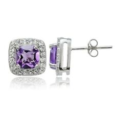 Sterling Silver 1.75ct Amethyst & White Topaz Cushion-Cut Stud Earrings