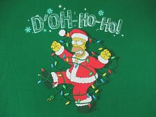 HOMER SIMPSON D'OH HO HO TANGLED CHRISTMAS LIGHTS GREEN 2XL T-SHIRT R75