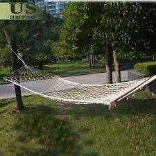 Hammock Cotton Solid Wood Spreader Outdoor Patio Yard Garden Hanging Swing Bed