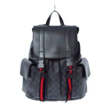 Auth GUCCI GG Plus GG Supreme 495563 Black Dark Gray PVC & Leather Backpack