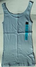 Ladies Ribbed Vest Top in Light Blue