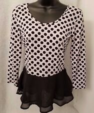 Derek Heart Juniors Womens Black/Gray Polka Dot Shirt Top Size M