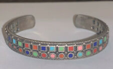 Old Pawn SE Sterling Silver Multi Color Turquoise Coral Lapis Cuff Bracelet