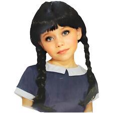 Girls Gothic Spooky Doll Wednesday Halloween Costume Black Braided Wig w/ Bangs