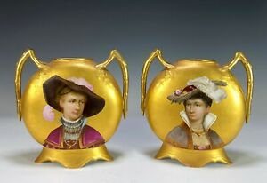 Pair of Antique French Porcelain Pillow Form Vases with Hand Painted Portraits