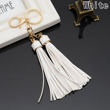 DOUBLE TASSEL BAG CHARM KEYRING GOLD WHITE