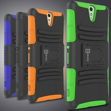 Holster Cover Rugged Tough Hybrid Kickstand Case for Sony Xperia C5 Ultra Phone