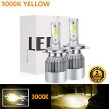2x H4 9003 HB2 3000K Hi-Low Beam LED Headlight Bulbs Conversion Yellow CREE CL