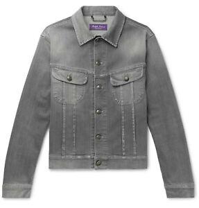 $895 Ralph Lauren Purple Label Gray Denim Jean Trucker Jacket M Medium Italy
