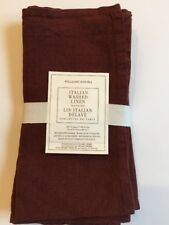 Williams Sonoma Burgandy Wine Solid Linen Dinner Napkins Set of 4 New