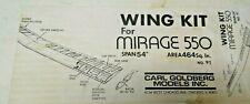 """Carl Goldberg For Mirage 550 Airplane Wing Kit 54"""" (Vintage)"""