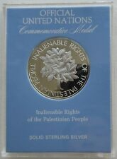 United Nations 1981 Palestine People Inalienable Rights 20.33g Silver Medal COA