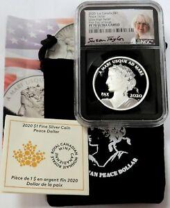 2020 SILVER CANADA $1 PEACE DOLLAR UHR PROOF 1oz TAYLOR SIGNED NGC PF 70 FDOI
