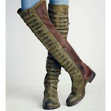 Womens Riding Knee High Motorcycle Round Toe Martin Boots Low Heels Plus Size
