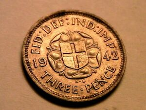 1942 Great Britain Threepence Nice Ch AU Original Luster Silver 3P WWII UK Coin