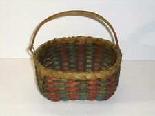 Red Green Weave Decorative Basket with Handle Country Home Decor