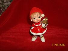 Vintage  Napco Christmas Girl w Lantern Red Dresse w/Wool Cap Red Hair Figurine