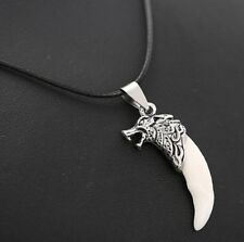 Brave Man Wolf Tooth Animal Necklace Pendent Mens Tibetan Silver Gift UK
