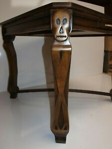 Handmade Walnut Spirit Table with Hand Carved Skull Motif Legs