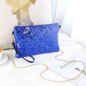Ladies Designer Sequins  Evening Bag Clutch Purse Chain Handbag Women Shoulder