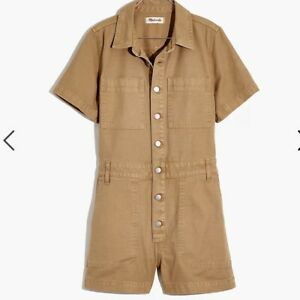 New Madewell Garment Dyed Relaxed Coverall Romper Seed Khaki Small S