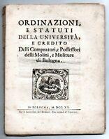 1720 - Bologna, università, economia, statuti - Molini - Moliture